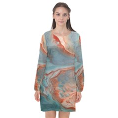 Colorful Long Sleeve Chiffon Shift Dress  by Sparkle