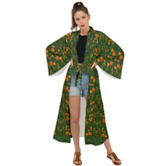 Sakura Tulips Giving Fruit In The Festive Temple Forest Maxi Kimono by pepitasart