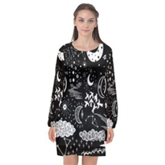 Vector Set Sketch Drawn With Space Long Sleeve Chiffon Shift Dress  by Bejoart