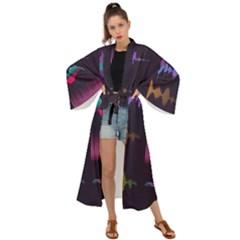 Colorful Sound Wave Set Maxi Kimono by Bejoart