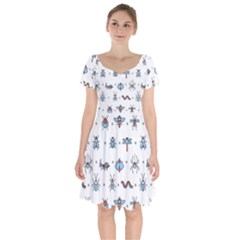 Insects Icons Square Seamless Pattern Short Sleeve Bardot Dress