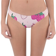 Seamless Strawberry Fruit Pattern Background Reversible Hipster Bikini Bottoms by Bejoart