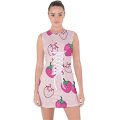 Seamless Strawberry Fruit Pattern Background Lace Up Front Bodycon Dress by Bejoart