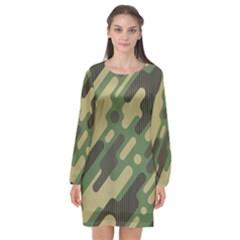 Camouflage Pattern Background Long Sleeve Chiffon Shift Dress