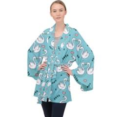 Elegant Swan Pattern Design Long Sleeve Velvet Kimono  by Bejoart