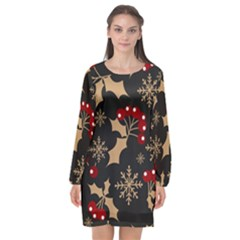 Christmas Pattern With Snowflakes Berries Long Sleeve Chiffon Shift Dress  by Bejoart