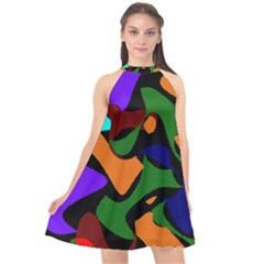 Trippy Paint Splash, Asymmetric Dotted Camo In Saturated Colors Halter Neckline Chiffon Dress  by Casemiro