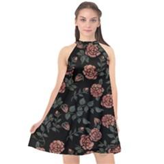 Dusty Roses Halter Neckline Chiffon Dress  by BubbSnugg