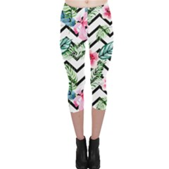 Tropical Zig Zag Pattern Capri Leggings