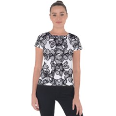 Stylized Botanical Motif Black And White Print Short Sleeve Sports Top  by dflcprintsclothing