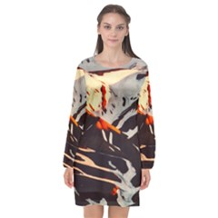 Iceland Landscape Mountains Snow Long Sleeve Chiffon Shift Dress