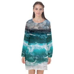 Ocean-waves-under-cloudy-sky-during-daytime Long Sleeve Chiffon Shift Dress  by Bejoart