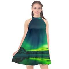 Iceland-aurora-borealis Halter Neckline Chiffon Dress  by Bejoart