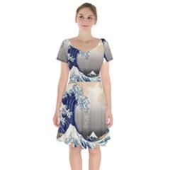 Image-woodblock-printing-woodcut Short Sleeve Bardot Dress by Bejoart