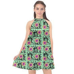 60s Girl Floral Green Halter Neckline Chiffon Dress  by snowwhitegirl