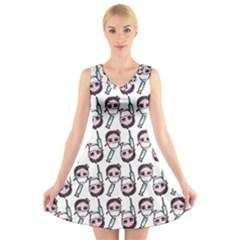 Doctor Pattern White V-neck Sleeveless Dress by snowwhitegirl
