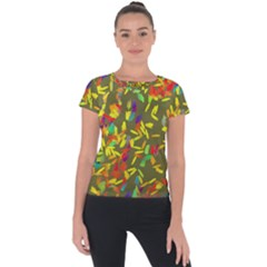 Colorful Brush Strokes Painting On A Green Background                                                   Short Sleeve Sports Top by LalyLauraFLM