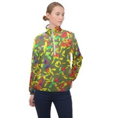 Colorful Brush Strokes Painting On A Green Background                                                    Women Half Zip Windbreaker by LalyLauraFLM