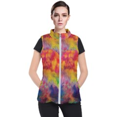 Colorful Watercolors Texture                                                   Women s Puffer Vest by LalyLauraFLM