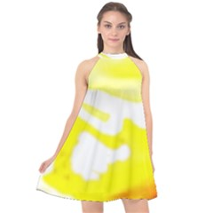 Golden Yellow Rose Halter Neckline Chiffon Dress  by Janetaudreywilson