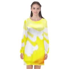Golden Yellow Rose Long Sleeve Chiffon Shift Dress  by Janetaudreywilson