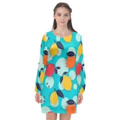 Pop Art Style Citrus Seamless Pattern Long Sleeve Chiffon Shift Dress  by Amaryn4rt