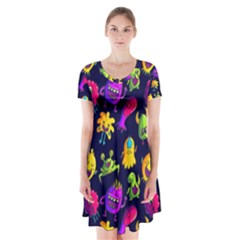 Space Patterns Short Sleeve V-neck Flare Dress by Amaryn4rt