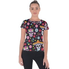Day Dead Skull With Floral Ornament Flower Seamless Pattern Short Sleeve Sports Top  by Amaryn4rt