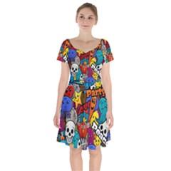 Graffiti Characters Seamless Pattern Short Sleeve Bardot Dress