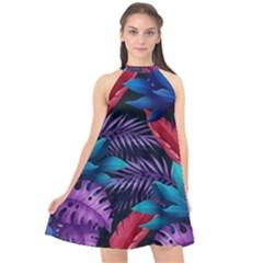 Background With Violet Blue Tropical Leaves Halter Neckline Chiffon Dress