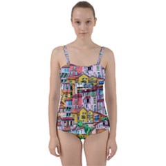 Menton Old Town France Twist Front Tankini Set by Amaryn4rt