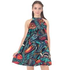 Vintage Tattoos Colorful Seamless Pattern Halter Neckline Chiffon Dress