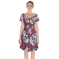 Vintage Day Dead Seamless Pattern Short Sleeve Bardot Dress