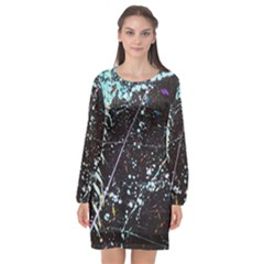 Abstract Colorful Texture Long Sleeve Chiffon Shift Dress