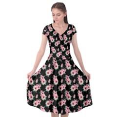 Floral Print Cap Sleeve Wrap Front Dress by Saptgram