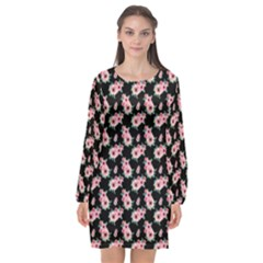 Floral Print Long Sleeve Chiffon Shift Dress