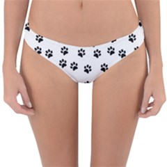 Dog Paws Pattern, Black And White Vector Illustration, Animal Love Theme Reversible Hipster Bikini Bottoms by Casemiro