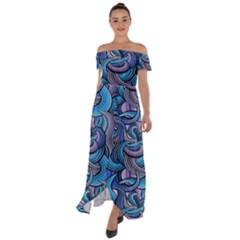 Blue Swirl Pattern Off Shoulder Open Front Chiffon Dress by designsbymallika