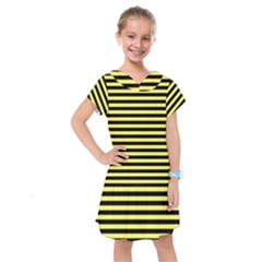 Wasp Stripes Pattern, Yellow And Black Lines, Bug Themed Kids  Drop Waist Dress by Casemiro
