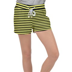 Wasp Stripes Pattern, Yellow And Black Lines, Bug Themed Velour Lounge Shorts