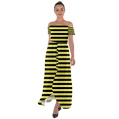 Wasp Stripes Pattern, Yellow And Black Lines, Bug Themed Off Shoulder Open Front Chiffon Dress by Casemiro