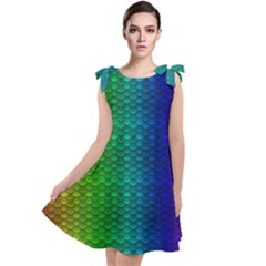 Rainbow Colored Scales Pattern, Full Color Palette, Fish Like Tie Up Tunic Dress by Casemiro