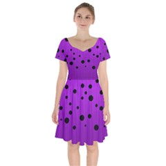 Two Tone Purple With Black Strings And Ovals, Dots  Geometric Pattern Short Sleeve Bardot Dress by Casemiro