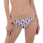 Red Seahorse Pattern Ring Detail Bikini Bottom