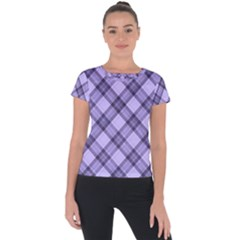 Pastel Purple And Steel Black Lines Pattern, Retro Tartan, Classic Plaid Short Sleeve Sports Top  by Casemiro