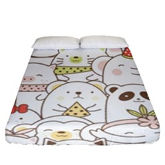Cute-baby-animals-seamless-pattern Fitted Sheet (queen Size) by Sobalvarro