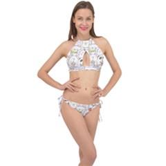 Cute-baby-animals-seamless-pattern Cross Front Halter Bikini Set by Sobalvarro