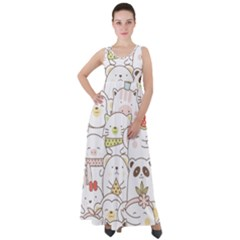 Cute-baby-animals-seamless-pattern Empire Waist Velour Maxi Dress by Sobalvarro