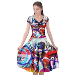 Crazy Grafitti Cap Sleeve Wrap Front Dress by essentialimage