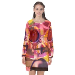 Fractured Colours Long Sleeve Chiffon Shift Dress